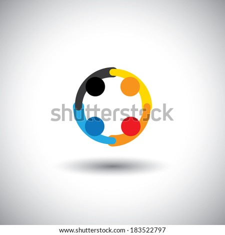 Colorful vector of people icons working as team & cooperating. This graphic can represent unity & solidarity, team & teamwork, friendship, community bonding, social media & network - stock vector
