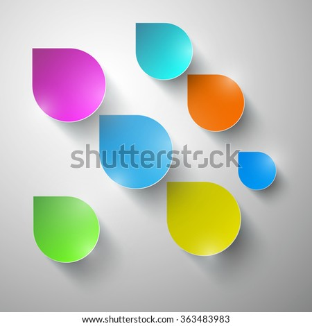 Colorful Vector Paper Rain - Water Drops - stock vector