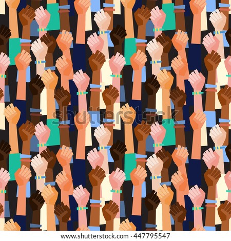 Colorful vector pattern with people's hands with different skin color together. Race equality, diversity, tolerance illustration. Flat design style. Can be used for backgrounds or prints. - stock vector