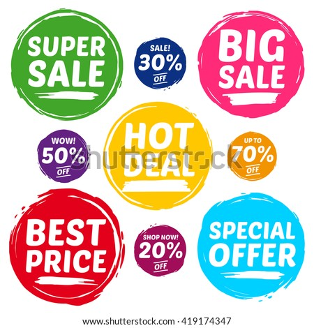 Colorful Vector Sale Tags In Grunge Style. Big Sale, Special Offer, Hot Deal, Best Price, Super Sale, 70% off, 50% off, 30% off, 20% off. - stock vector