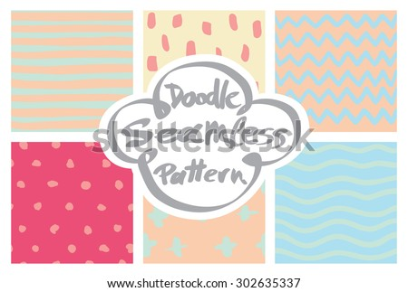 Colorful vector seamless doodle background set - stock vector