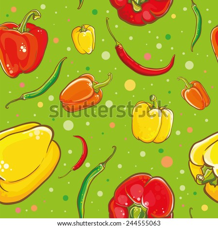 Colorful vector seamless pattern with bright fresh peppers. Vector illustration of peppers, chili peppers, cayenne and spice.  - stock vector
