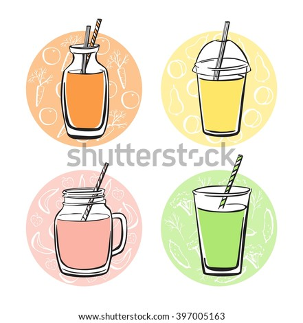 Colorful vector set of doodle cups, jars, glasses and bottles with tasty nonalcoholic beverages. Hand drawn black outline with bright elements on color circles with symbols of fruits and vegetables. - stock vector