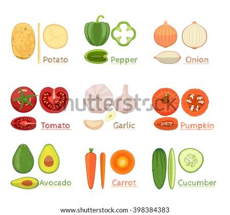 Colorful  Vector Set Of Fresh Vegetables Icon. Sliced Vegetables. Vector Illustration - stock vector