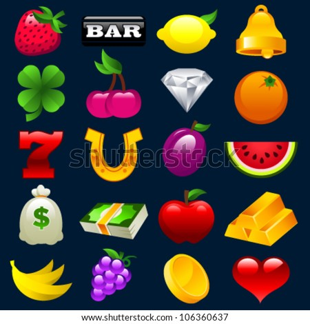 Colorful vector set of slot machine icons - stock vector