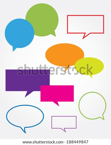 Colorful Vector Speech Bubble and Communication Set  - stock vector