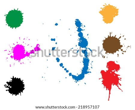 Colorful vector stains, blots, splashes set - stock vector