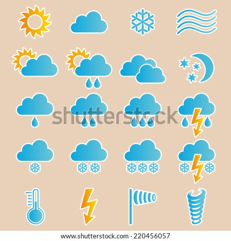 Colorful vector weather icons collection on retro background - stock vector