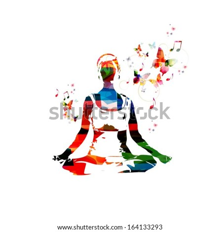 Colorful vector woman in the yoga pose background with butterflies. - stock vector