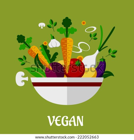 Colorful vegan poster with flat garlic, mushroom, eggplant, carrot, onion, asparagus, parsley, potato icons for infographic design - stock vector