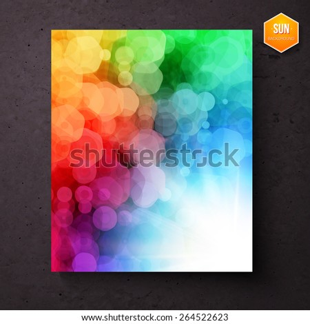 Colorful vibrant rainbow abstract pattern with a bokeh of geometric hexagons above a bright white sunburst , vector illustration - stock vector