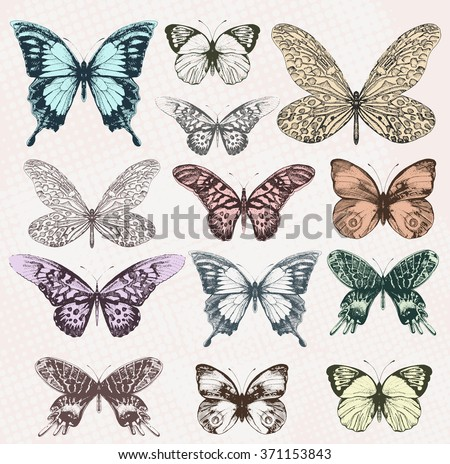 Colorful vintage butterflies. Vector, EPS10. - stock vector