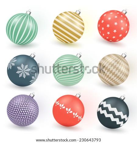Colorful vintage Christmas balls - stock vector