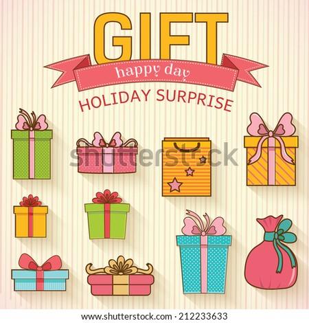 colorful vintage gift set background concept. Vector illustration design - stock vector