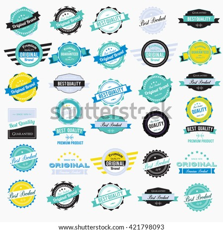 Colorful Vintage Labels Collection - stock vector