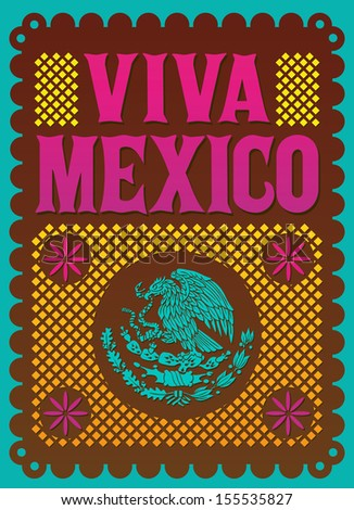 Colorful Vintage Viva Mexico - mexican holiday vector poster  - stock vector