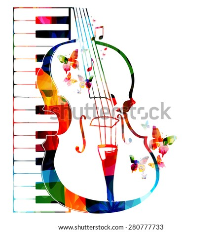 Colorful violoncello design with butterflies - stock vector