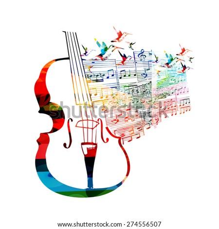 Colorful violoncello design with hummingbirds - stock vector