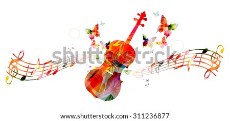 Colorful violoncello with music notes - stock vector