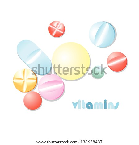 colorful volume pills on white background - stock vector
