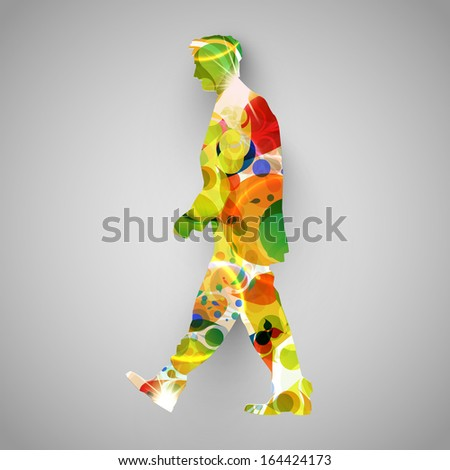 Colorful walker vector illustration - stock vector