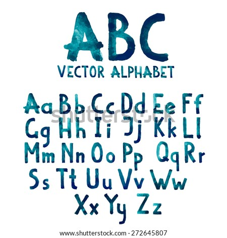 Colorful watercolor aquarelle font type handwritten hand drawn doodle abc alphabet letters uppercase and lowercase vector. - stock vector