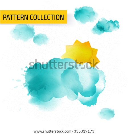 Colorful watercolor background template design. Cover layout. - stock vector