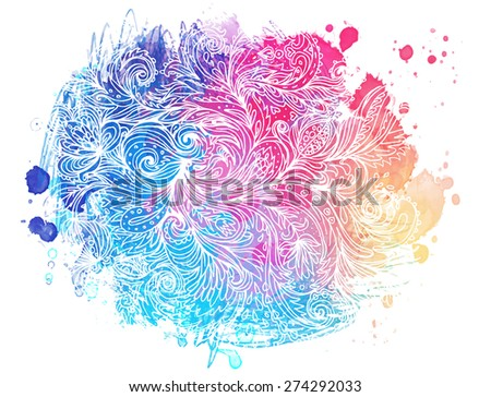 Colorful watercolor background with ornate paisley pattern, stains and white stokes, vector illustration - stock vector