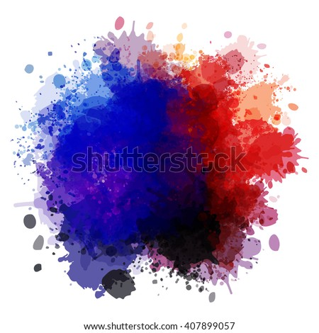 Colorful watercolor blots and splashes on a white background. A simple element of design for creation of more difficult ideas. - stock vector