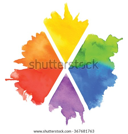 Colorful watercolor colorful rainbow splash, paint stain, firework, boom isolated on a white background. Art abstract  - stock vector