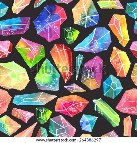 Colorful watercolor gem pattern, beautiful crystal Seamless pattern over black, VECTOR - stock vector