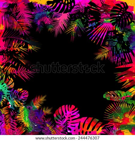 Colorful watercolor palm. Vector - stock vector