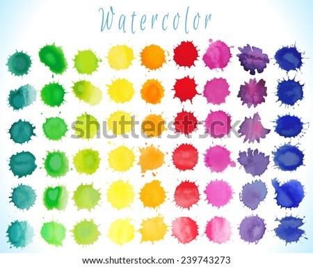 Colorful watercolor splashes isolated on white background.Vector illustration - stock vector