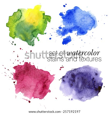 colorful watercolor stains and splashes (blue, green, pink, violet) with rough strokes and edges in grunge style, stroke brush and the paint texture - isolated on white background vector illustration - stock vector