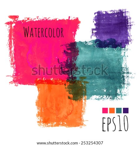 colorful watercolor stains (pink, violet, green, orange) - squares with rough strokes and edges in grunge style, stroke brush and the paint texture - isolated on white background vector illustration - stock vector