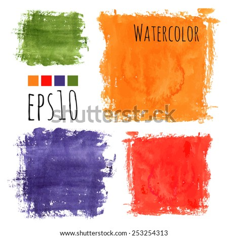 colorful watercolor stains (violet, red, green, orange) - squares with rough strokes and edges in grunge style, stroke brush and the paint texture - isolated on white background vector illustration - stock vector