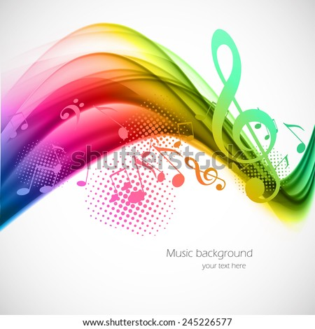 Colorful wavy music background with notes and g-clef - stock vector