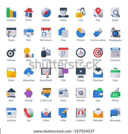 Colorful web,business, finance and communication icons,flat style - stock vector