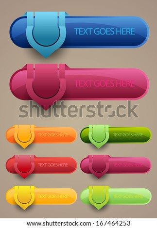 colorful web button set - stock vector