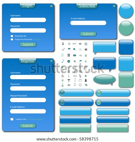 Colorful web template with forms, bars and buttons. - stock vector