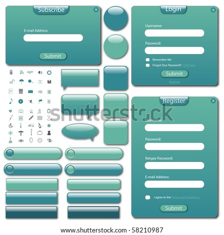 Colorful web template with forms, bars, buttons and icons. - stock vector