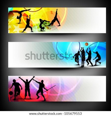 Colorful website header or banner set. Sports concept. EPS 10. - stock vector
