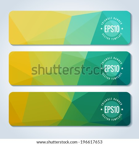 Colorful website header or banner set with triangle pattern - stock vector