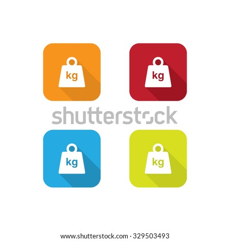 Colorful Weight Icons With Long Shadow - stock vector