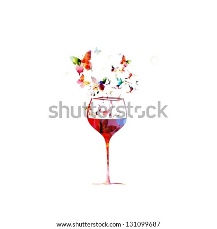 Colorful wine glass design with butterflies background - stock vector