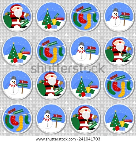 colorful winter holiday round shaped illustration with Santa Claus Christmas tree gift socks and happy snowman with Merry Christmas wishes in English seamless pattern on gray background - stock vector