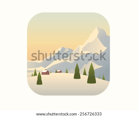Colorful winter landscape with mountains and trees. - stock vector
