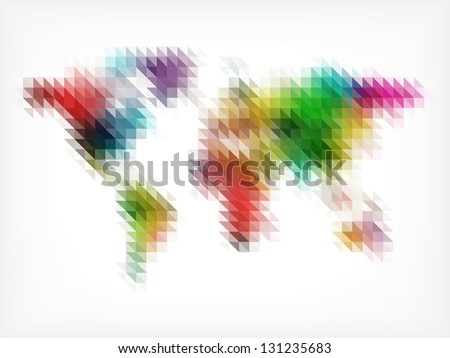 Colorful World Map Made of Small Triangles - stock vector
