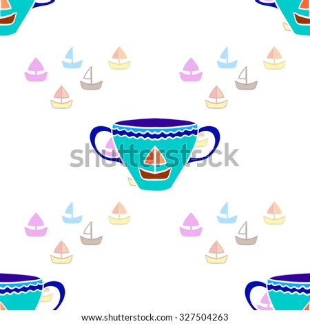 Colorful yachts and tea cups. Seamless pattern. Vector illustration. - stock vector