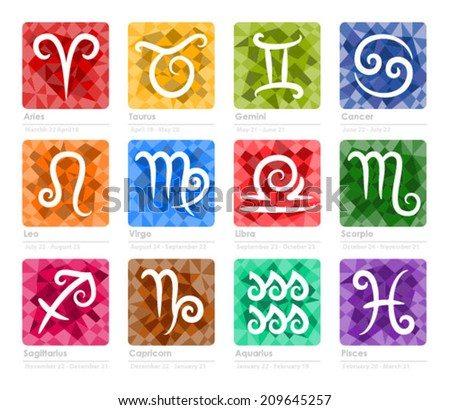 Colorful zodiac signs - stock vector